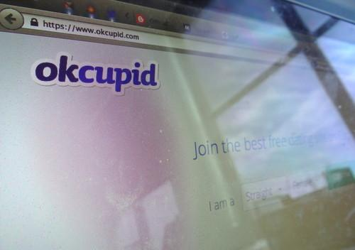 OkCupid's landing page, pictured July 28, 2014.