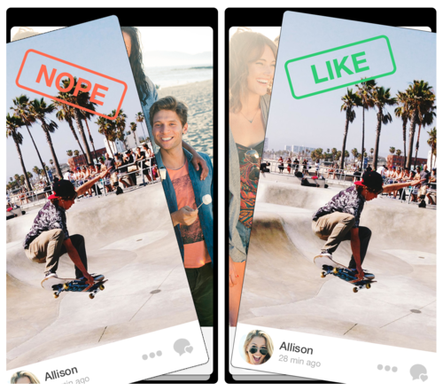 "Tinder's app lets people swipe left or right to show whether they ""like"" someone."