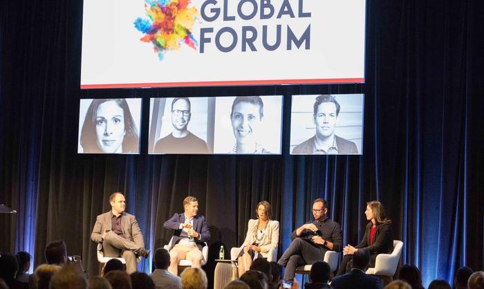 From left: Optimizely's Dan Ross, eBay's Tim Mackinnon, Rachel Botsman, Uber's Steve Brennen and Peer Academy's Kylie Long