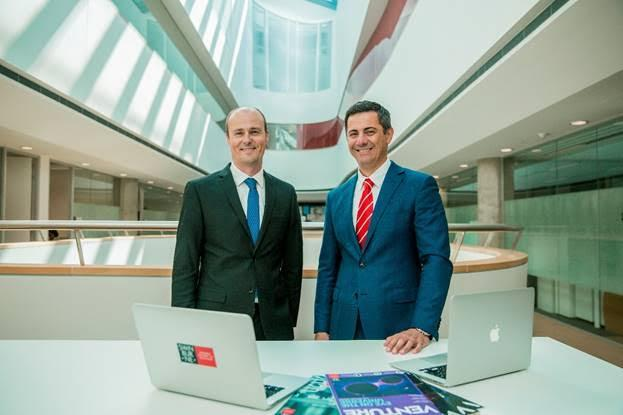 Swinburne University's Scott Thompson-Whiteside (Left) with Adobe's Tony Katsabaris