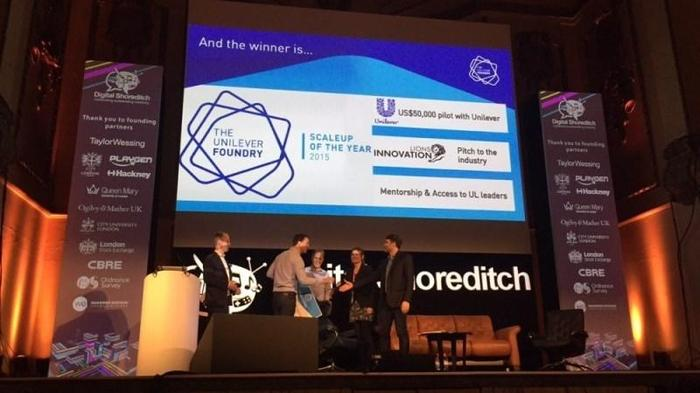 Glimr accepting the cheque on stage at Digital Shoreditch 2015 ©Techworld/Sam Shead