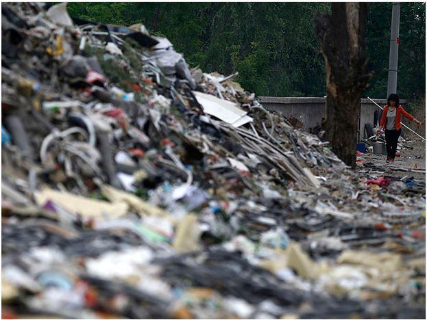 Mounds of garbage abandoned by recycling workers at Dongxiaokou, Beijing.