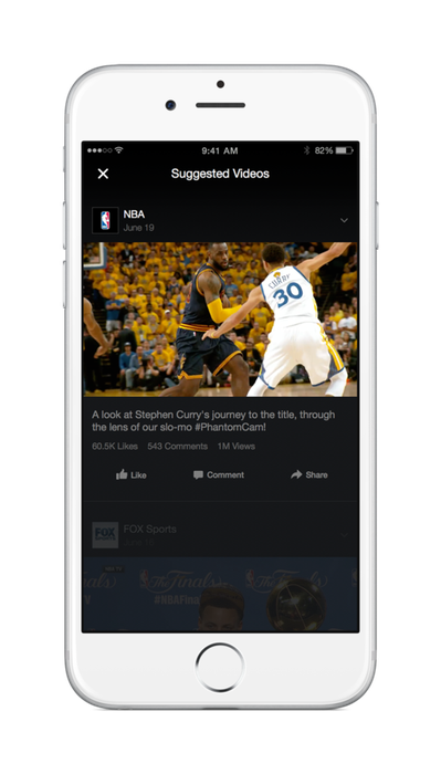 A screenshot of Facebook's Suggested Videos feature on iOS.