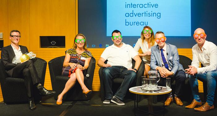The IAB/Pwc panel (from left): Howard Parry Husbands – CEO, Pollinate; Ros Allison – Head of digital, ZenithOptimedia; James Diamond - MD A/NZ, Integral Ad Science; Jessica White – MD, Cadreon; Ciaran Norris – Director marketing and business insights consultation, AMEX; Tyler Greer – Head of strategy for APAC, Exponential