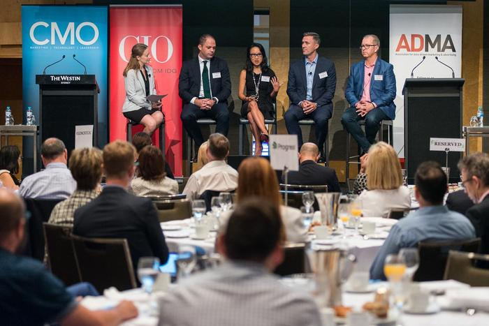 From left: CMO's Nadia Cameron, AMP's Rod Finch, OPSM's Jee Moon, Aussie's Richard Burns and Vision Critical's Peter Harris