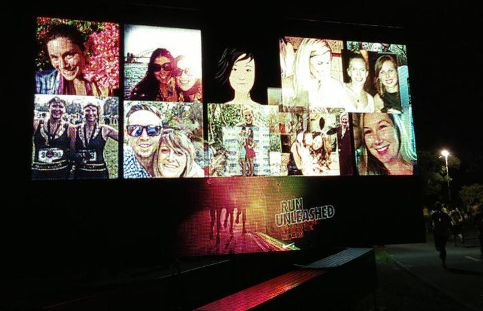 A billboard at Nike's recent 10k run in Sydney displayed participants' Facebook profiles as they ran by. Credit: Nike