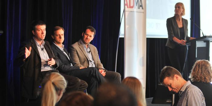 From left: David Hassan, Helloworld; Mark Reinke, Suncorp; James McQuivey, Forrester; and panel moderator, Jodie Sangster, ADMA
