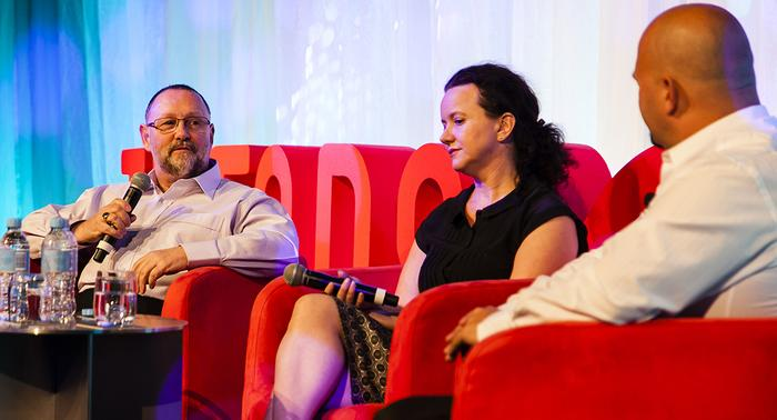 From left: AGL digital lead, Nigel Page; AGL head of digital and customer experience, Josephine Monger; Sitecore chief strategy officer, Darren Guarnaccia