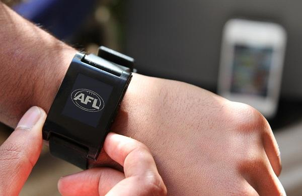 The AFL Live app on the Pebble smart watch.